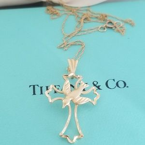 Jewelry - 10k yellow gold cross dove necklace
